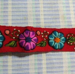Hand Embroidered Floral Trimmed Headband